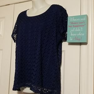 Cato Navy Blue Lace Lined Top XL short sleeve